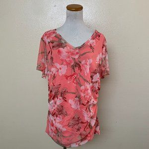 3/$30 INC Floral Ruched T Shirt Blooming Irish 2X